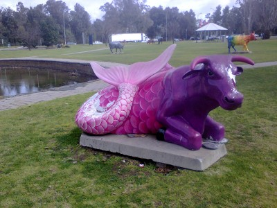 Shepparton Victoria Things To Do Mooving Art Cow Display Hurlstone Homestead B&B Mermaid Cow
